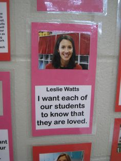 "Teacher profiles -- I like the ""I want each of our students to know..."" :)"