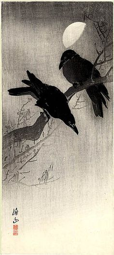 Bird - Two Crows and Half Moon - by Ito Sozan 1884 - ?), Japan.  Shown piece is actually a print rather than the original painting.