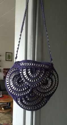 Pop Tab Crafts, Soda Can Crafts, Soda Can Tabs, Capsule, Recycled Crafts, Shoulder Bag, Purple, Crochet, Crochet Towel Holders