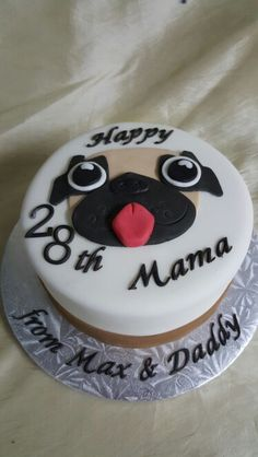 "The Cakebox Bahamas:  Single tier fondant finished ""pug"" birthday cake"