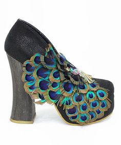 """Black """"Best of All"""" Pump with chunk faux wood heel and peacock feather 'broach' from Irregular Choice"""