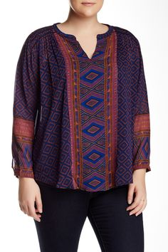 Geo Print Blouse (Plus Size) by Lucky Brand on @nordstrom_rack