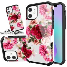 For iPhone 11 / 11 Pro / 11 Pro Max Case Hybrid Heavy Duty Shockproof Red Floral Girl Cases, Girl Phone Cases, Cute Phone Cases, Minnie Toys, Iphone 11, Iphone Cases, Floral Iphone Case, Cute Fruit, Fruit Pattern