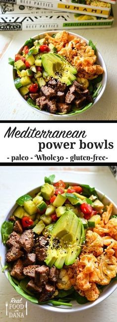 Mediterranean Power Bowl Healthy lunch or dinner! Mediterranean Power Bowl Healthy lunch or dinner! Paleo Menu, Paleo Cookbook, Paleo Food, Raw Food, Fruit Food, Diet Menu, Veggie Food, Whole 30 Recipes, Whole Food Recipes