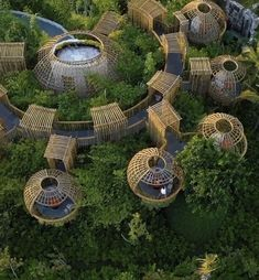 Discover recipes, home ideas, style inspiration and other ideas to try. Environmental Architecture, Bamboo Architecture, Amazing Architecture, Architecture Design, Beautiful Buildings, Beautiful Places, Forest Resort, Resort Plan, Bamboo Structure