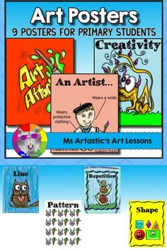 Art Posters for Primary Teaching Materials, Teaching Resources, School Resources, Back To School Art, High School Art, Art Classroom, School Classroom, Classroom Ideas, School Art Projects