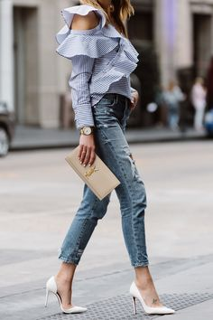 Fashion Jackson, Dallas Blogger, Fashion Blogger, Street Style, Self-Portrait Asymmetrical Ruffle Top, Blue White Stripe Top, Blanknyc Ms Throwback Relaxed Denim Ripped Jeans, Saint Laurent Monogram Clutch, Christian Louboutin White Pumps