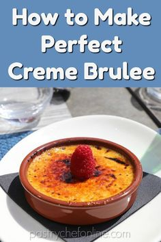 Perfect creme brulee is a thing of beauty, and while the ingredient list for making it is short, there are some tips, tricks, and secrets I want to share with you so you can make even better-than-restaurant-quality creme brulee. Cold Desserts, Desserts To Make, Best Dessert Recipes, Mini Desserts, Delicious Desserts, Plated Desserts, Cream Brulee, Brulee Recipe, Bakery Recipes
