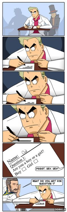 Professor Oak's Test: He always asks this question, and it has now come back to haunt him. Can he answer question #1? I love how Professor Layton's just chilling in the back. XD