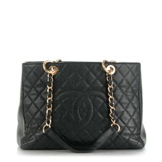 CHANEL Caviar Quilted Grand Shopping Tote GST Black