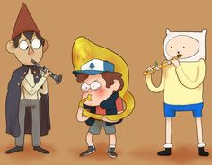 Little dorks and their instruments.<<-- do I put it in my Over the Garden Wall board, my Gravity Falls board, or my Adventure Time board?