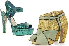 The Glitter Sparklers    ASOS Hysteric Glitter Sandal, $73.18, available at ASOS; Miu Miu Glitter and Suede Peep Toe Ankle Boots, $890, available at Net-a-Porter.