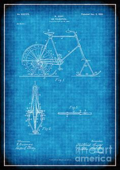 1899 ice velocipede patent drawing (No. white lines on blue background Bicycle Party, Patent Drawing, Antique Art, Blue Backgrounds, Fine Art America, Art Photography, Original Art, Ice, Wall Art