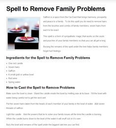 Spell to Remove Family Problems Wiccan Witch, Magick Spells, Healing Spells, Witchcraft For Beginners, Wiccan Crafts, Eclectic Witch, Protection Spells, Family Problems, Witch Spell