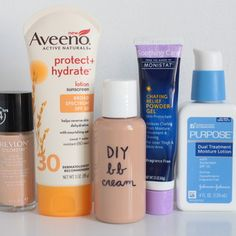 DIY BB Cream-- the amounts:  1/3 foundation  1/3 moisturizer  1/6 chafing gel  1/6 sunscreen