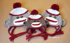 Repeat Crafter Me: Crochet Sock Monkey Hat Pattern Free Newborn to Adult