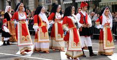 A group from Oristano (Sardinia, Italy) wearing the traditional costume at St. Efisio's Procession in Cagliari on May 1st
