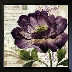 FRAMED Study in Purple II-mini by Pamela Gladding 12x12 Art Poster Print Wall Decor Purple Flower Vintage French Post Victorian Era  Of all ways to brighten up a room, floral wall art seems to be one of the best and most tasteful of ways.  Essentially it's our way of bringing the beauty of nature indoors