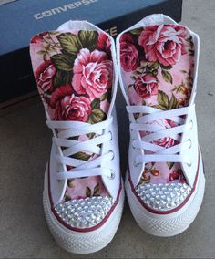 Custom Made Floral Rhinestone Converse shoes by StuddedHeartsShop
