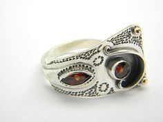 Sterling silver garnet ring Wide ring Silver two by nikiforosnelly