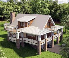 Sloping lot house plan. Cottage style. Balcony. Covered porches. Excellent layout for us!