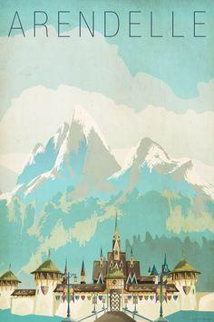 Retro disney Frozen Arendelle poster