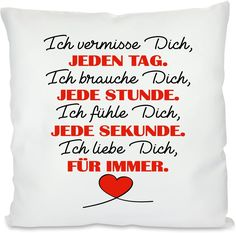 Herzbotschaft Kissen mit Motiv Modell: Ich Liebe Dich für Immer, Stoff, Weiß, 45 x 45 x 10 cm Pillow Cases, Pillows, Love You Forever, I Need You, Heart, Scale Model, Cushions, Pillow Forms, Cushion