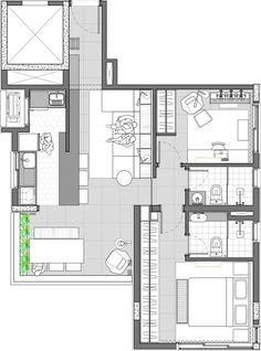 Urban Apartment, Small Apartment Design, Apartment Layout, Apartment Plans, Paris Apartments, Small Apartments, Architecture Plan, Architecture Details, Villa Design