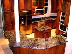 """Semi-precious Azul Bahia granite installed in Sandpoint yesterday. It's going to be a """"blue"""" Christmas! Elvis would be proud!"""