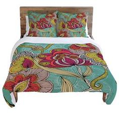 Multicolor duvet cover with a detailed floral motif. Designed by artist Valentina Ramos.  Product: Duvet coverConstruction Material: 100% Woven polyesterColor: MultiFeatures:  Hidden zipper closureInterior ties to attach comforter to duvet