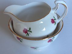 Colclough sugar bowl and creamer