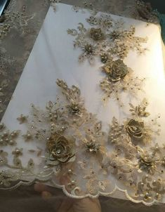 beaded Lace Fabric with flowers, gold lace fabric, bridal handmade mesh lace fabric with floral for wedding haute couture Embroidery Fabric, Floral Embroidery, Beaded Embroidery, Embroidery Patterns, Gold Lace Fabric, Bridal Lace Fabric, Embroidered Lace, Lace Applique, Champagne Gold Color