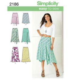 Simplicity Pattern 2186H5-Misses Skirts Pants-Sz 6-14, , hi-res