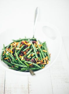 Green Beans with Shallots, Garlic, Toasted Almonds + Cranberries via Food Loves Writing