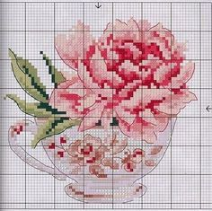 Peonies, imprinted in the picture with cross stitch, bring harmony and tenderness to any interior. We have prepared diagrams and an overview of the set for embroidery Modern Cross Stitch Patterns, Counted Cross Stitch Patterns, Cross Stitch Designs, Cross Stitch Embroidery, Embroidery Patterns, Cross Stitch Flowers Pattern, Cross Stitch Cards, Cross Stitch Rose, Cross Stitching