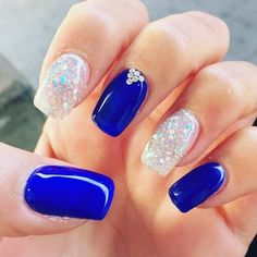 Royal Blue Crystals | Wedding Nail Designs