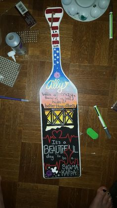 Greys anatomy and one tree hill Sigma Kappa hand painted paddle Made with acrylic paint on a wooden paddle