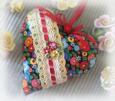Heart Door Hanger Pillow, 6 inches, Bright Flowers Print,  Prim Primitive Cloth Handmade CharlotteStyle Decorative Folk Art