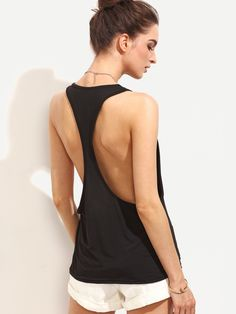Tank Designed with Scoop Neck. Oversized fit. Plain design. Trend of Summer-2018. Designed in Black. Fabric is very stretchy.