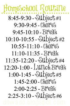 Free Printable Homeschool Routine on www.dowado.blogspot.com