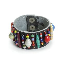 Trade Bead Leather Bracelet (J-B682)