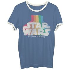 Junk Food Star Wars Graphic Tee (£30) ❤ liked on Polyvore featuring tops, t-shirts, shirts, tees, navy combo, graphic t shirts, navy t shirt, graphic shirts, navy shirt and short sleeve shirts