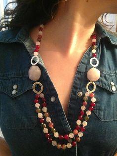 hermoso collar de cuarzo rosa con plata. hecho a mano por Betty Berlanga. Mexico