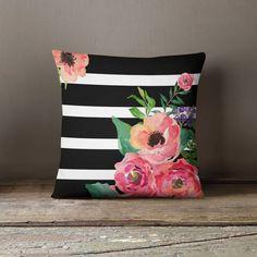 Living Room White, White Rooms, New Living Room, Living Room Decor, Bedroom Decor, Floral Bedroom, Floral Throws, Floral Throw Pillows, Floral Stripe