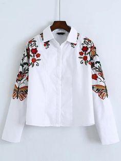 Blusa con bordado floral - blanco