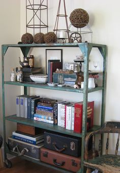 four corners design: Industrial Chic Industrial Bookshelf, Metal Shelves, Industrial Chic, Metal Bookcase, Design Industrial, Wire Shelving, Corner Designs, My Living Room, Apartment Living