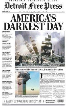 The day after the September 11 attacks, newspapers around the world reacted by capturing sadness, shock, and horror. These are the front pages people woke up to on September Newspaper Front Pages, Newspaper Cover, Vintage Newspaper, Newspaper Headlines, Times Newspaper, Newspaper Article, World Trade Center, History Facts, World History
