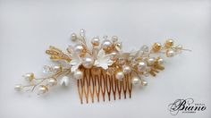 Bridal Pearl Hair Comb Bridal Bohemian Headpiece Flower by Bianoco