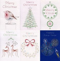 Five Christmas patterns and a New Year pattern have been added to the Stitching Cards collection. They feature a robin, a tree, baubles, two reindeer and a wreath, each with the words 'Merry Christmas'. Plus a fireworks pattern with the words 'Happy New Year'. http://www.stitchingcards.com/product.php/792/