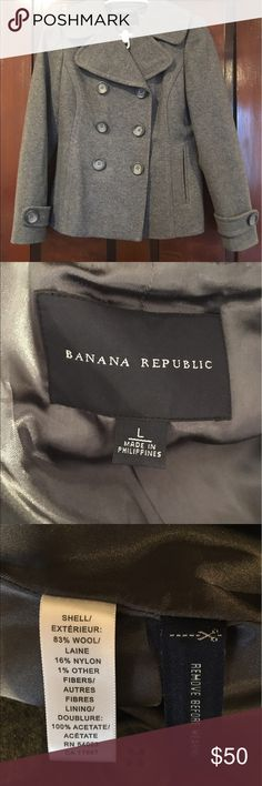 Banana Republic Gray Wool Peacoat Size Large! Banana Republic Gray Wool Peacoat Size Large! Excellent condition! Buy now and wear all fall long!  Gorgeous gray wool with silky lining! Banana Republic Jackets & Coats